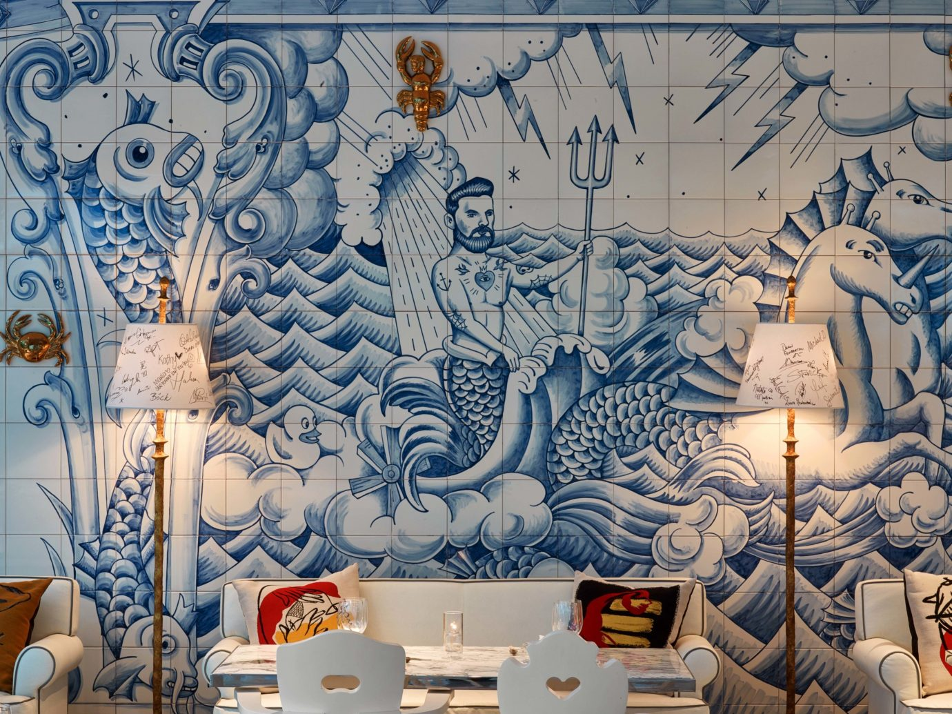 Food + Drink Girls Getaways Hotels Jetsetter Guides shopping Style + Design Weekend Getaways wall mural indoor art Design interior design modern art decorated illustration painting wallpaper different several colored