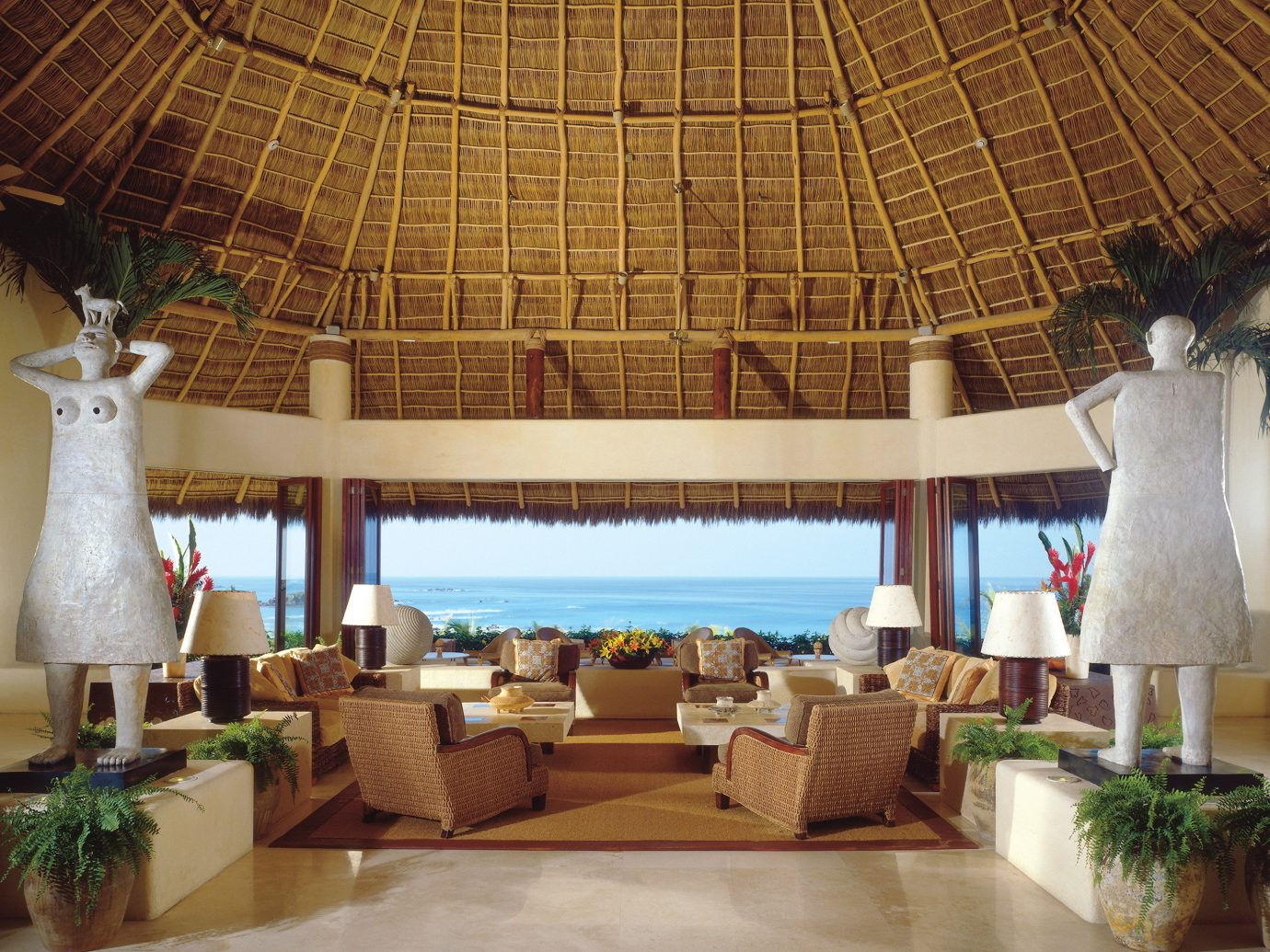 Hip Hotels Living Lounge Luxury Scenic views Tropical indoor Resort estate function hall interior design restaurant hacienda palace Villa furniture dome area