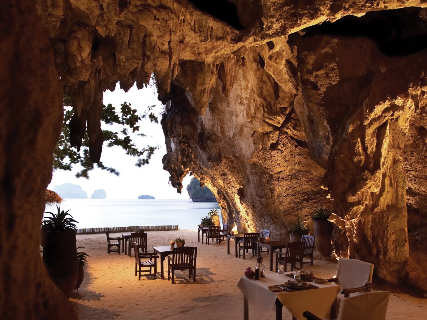 Bar Dining Drink Eat Elegant Food + Drink Luxury Modern outdoor Nature water cave geographical feature landform Beach rock formation several