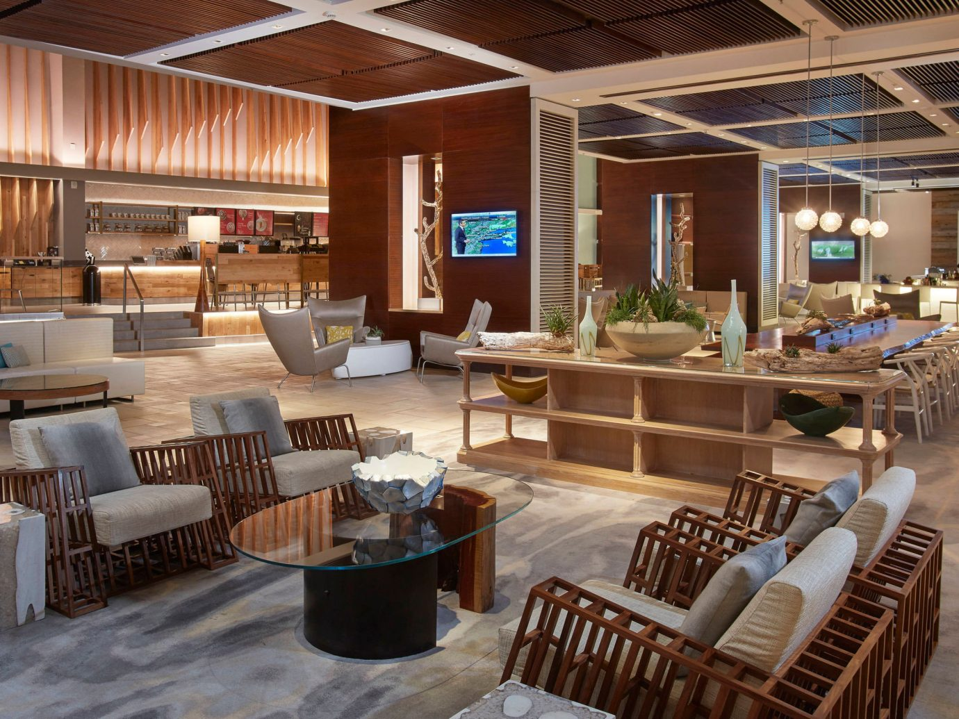 Aruba caribbean Hotels indoor floor window ceiling chair room Living Lobby interior design furniture living room restaurant Dining wood area Island