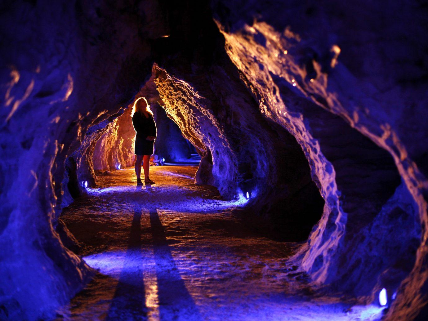 Offbeat landform cave Nature night light geological phenomenon reflection darkness dark formation
