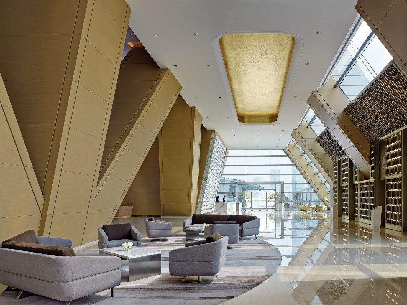 Hotels indoor room building Architecture Lobby ceiling floor daylighting interior design living room stairs home wood Design tourist attraction window covering furniture