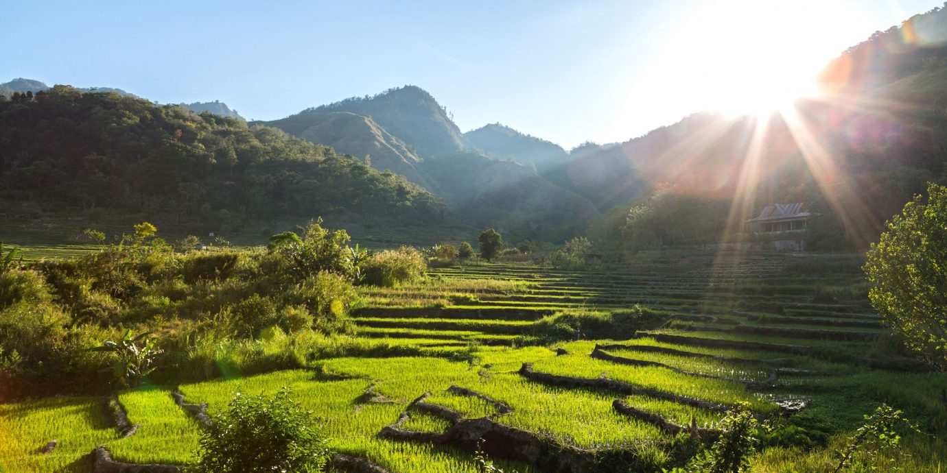 Jetsetter Guides grass outdoor sky mountain highland field mountainous landforms Nature geographical feature landform agriculture grassland hill green Terrace valley landscape plain rural area plateau mountain range lush grassy meadow sunlight paddy field plantation flower plant pasture day