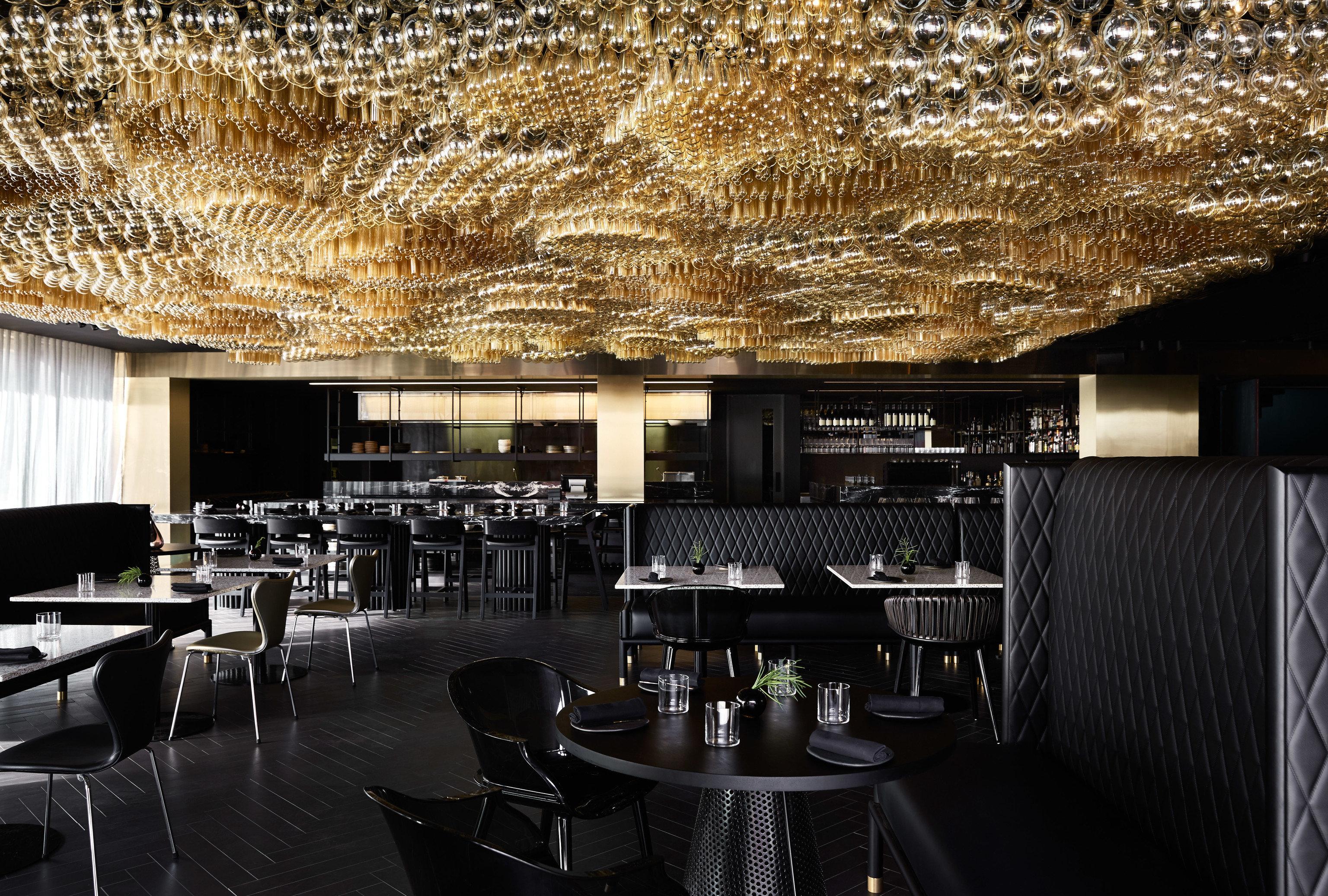 Food + Drink Hotels indoor restaurant interior design ceiling Bar furniture area several dining room