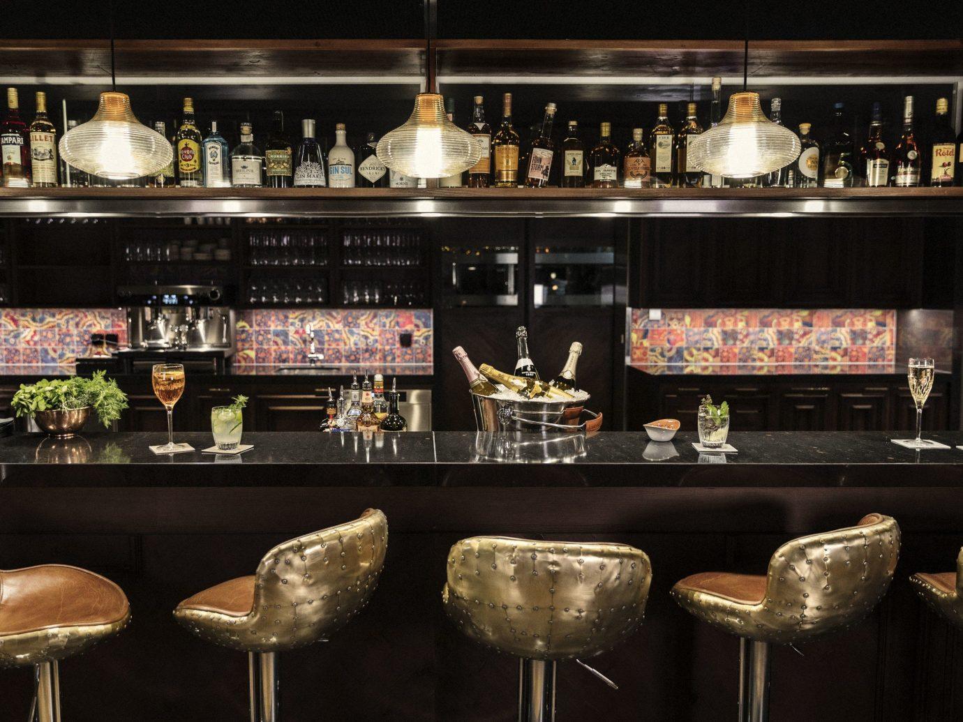 Boutique Hotels Hotels Outdoors + Adventure Winter indoor Bar restaurant interior design different Drink several