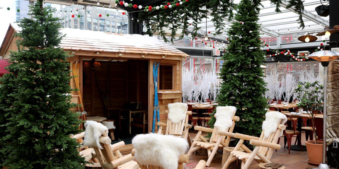 Food + Drink tree outdoor christmas decoration Christmas meal Resort home wooden restaurant interior design furniture