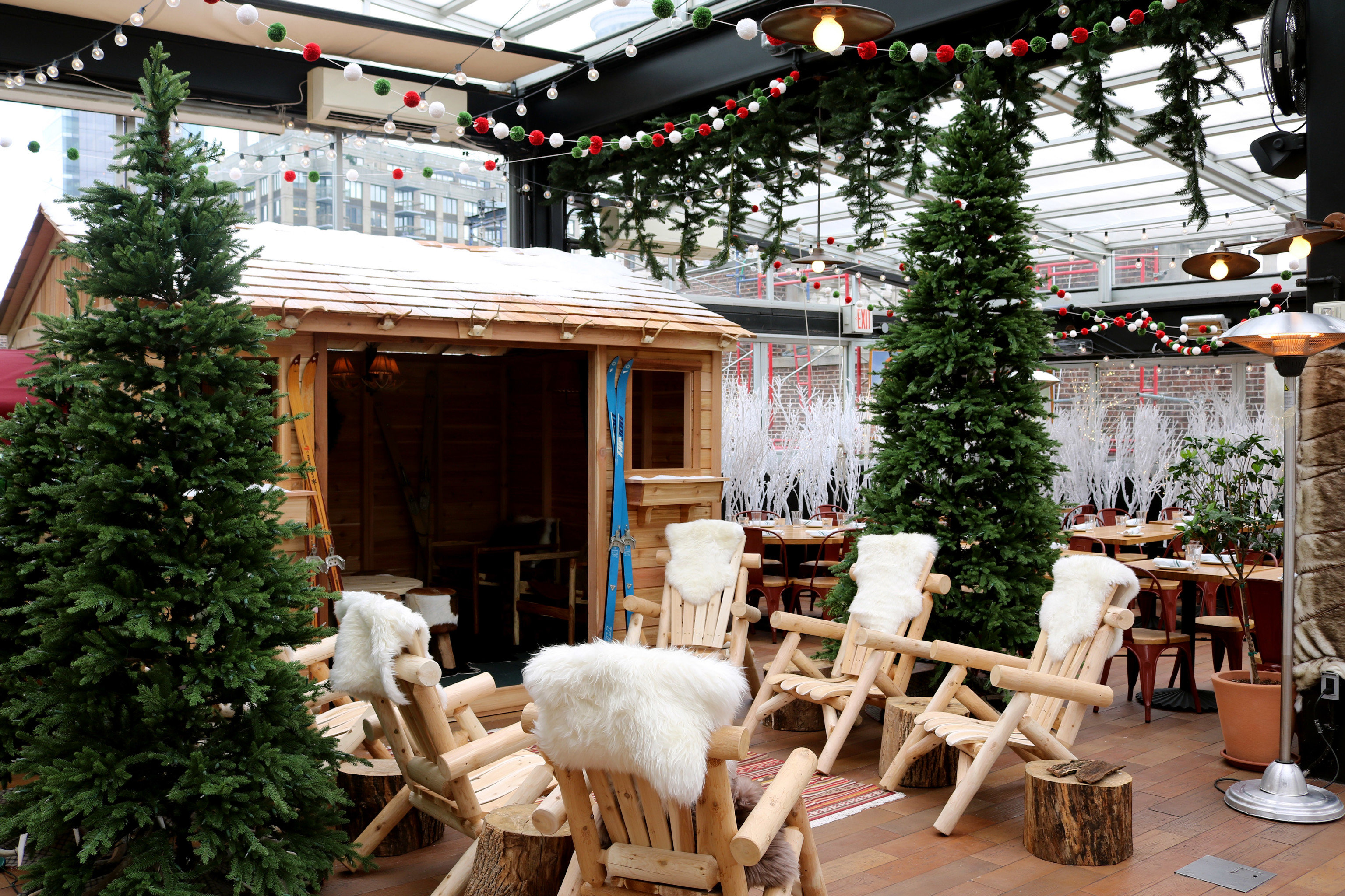 Food + Drink tree outdoor christmas decoration Christmas meal Resort home wooden restaurant interior design furniture