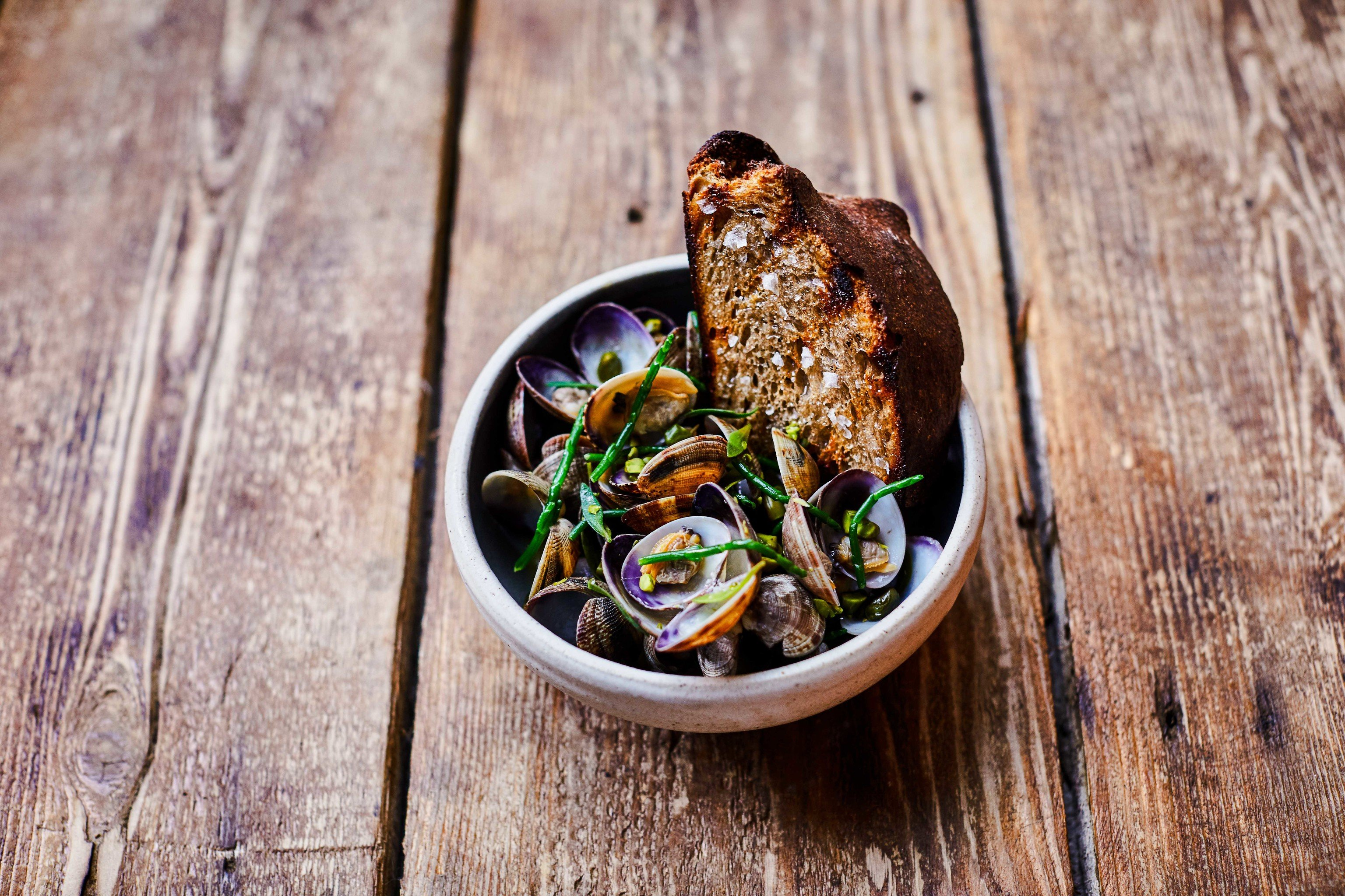 Food + Drink London wooden ground wood dish mussel recipe food meal