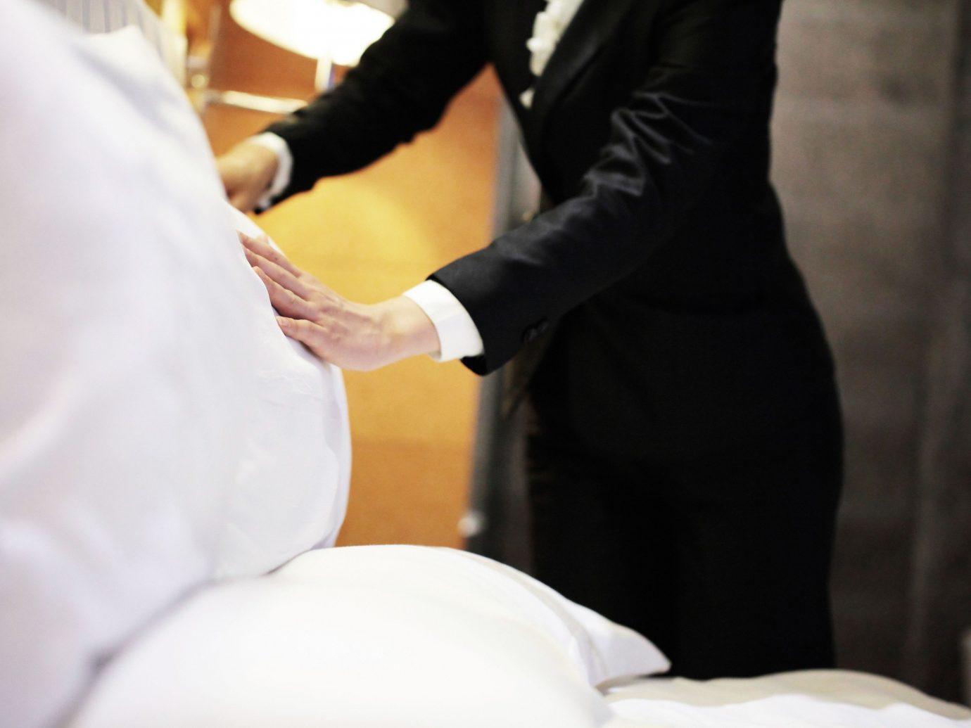 Offbeat person indoor groom preparing