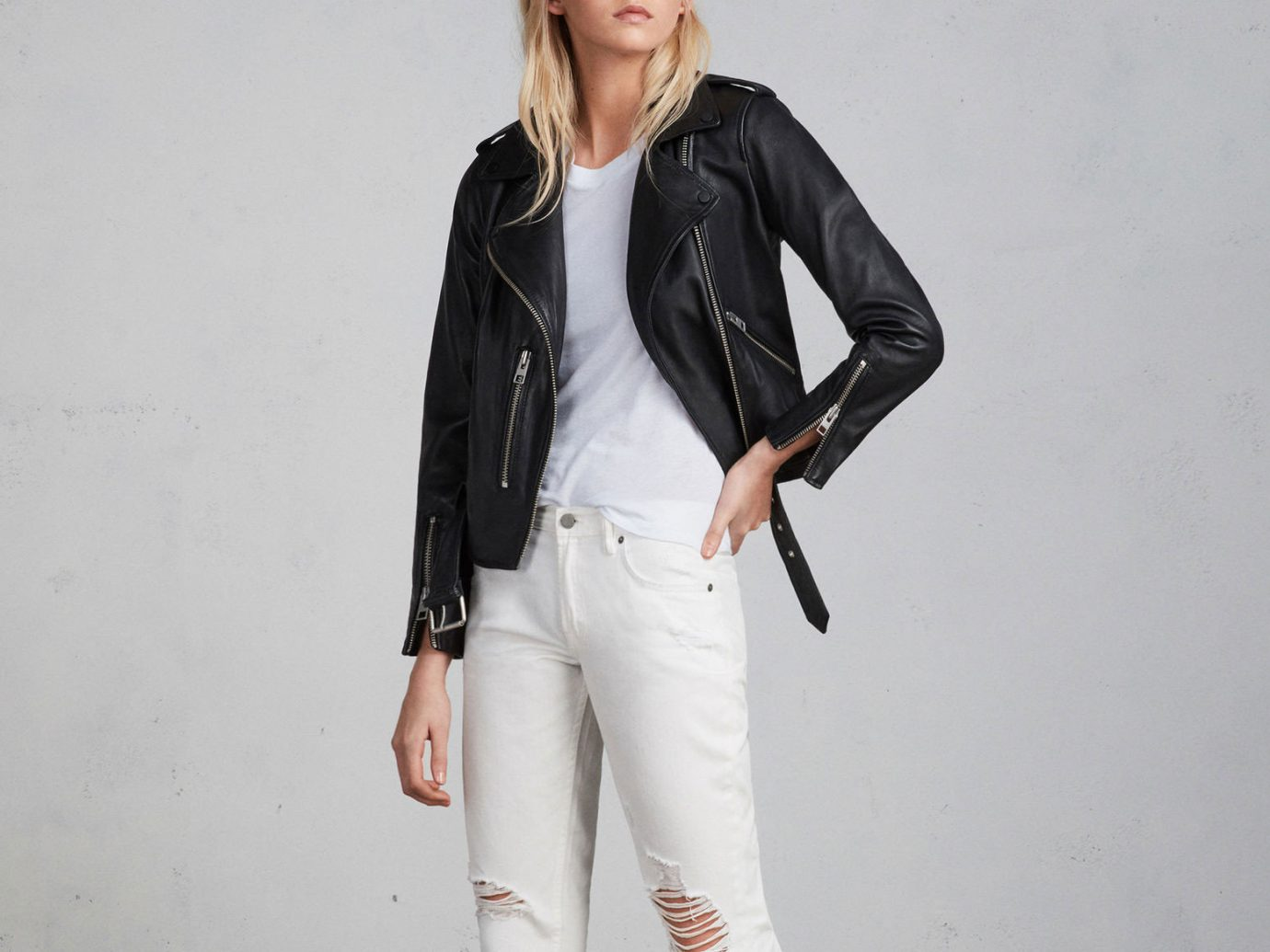 Packing Tips Style + Design Travel Shop person white clothing jacket fashion model leather jacket leather fashion material suit top trouser shoe coat posing dressed