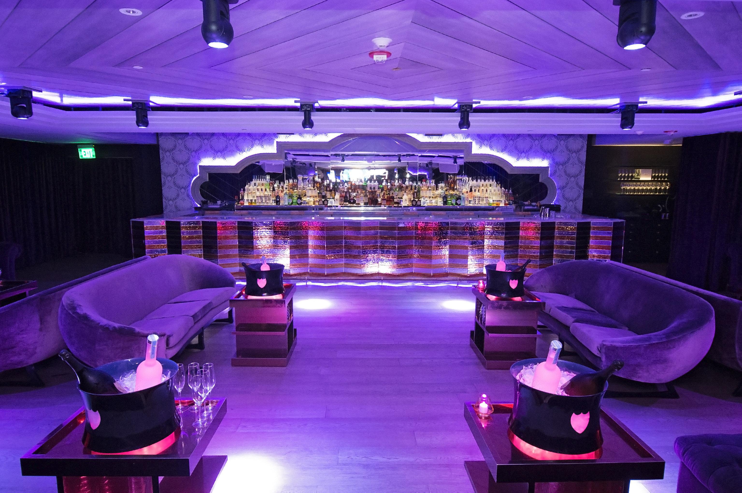 Trip Ideas indoor floor room ceiling Living nightclub function hall stage lighting Bar interior design purple convention center furniture