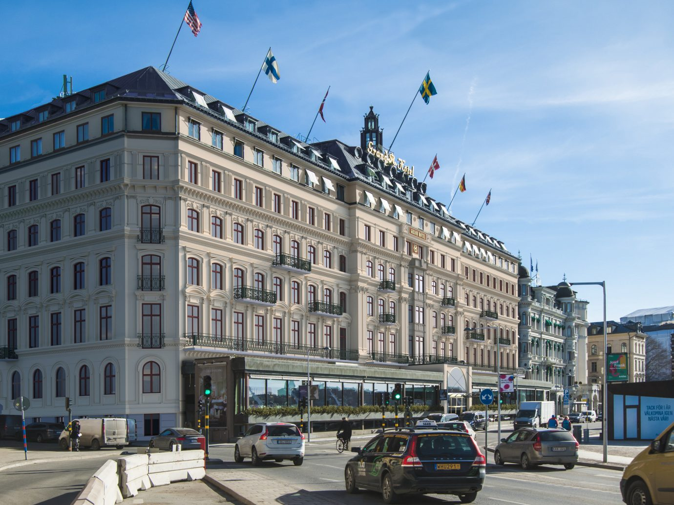 Hotels Stockholm Sweden outdoor building sky road street City landmark Town urban area metropolis metropolitan area Architecture Downtown mixed use plaza neighbourhood daytime house town square facade condominium tower block palace skyscraper classical architecture