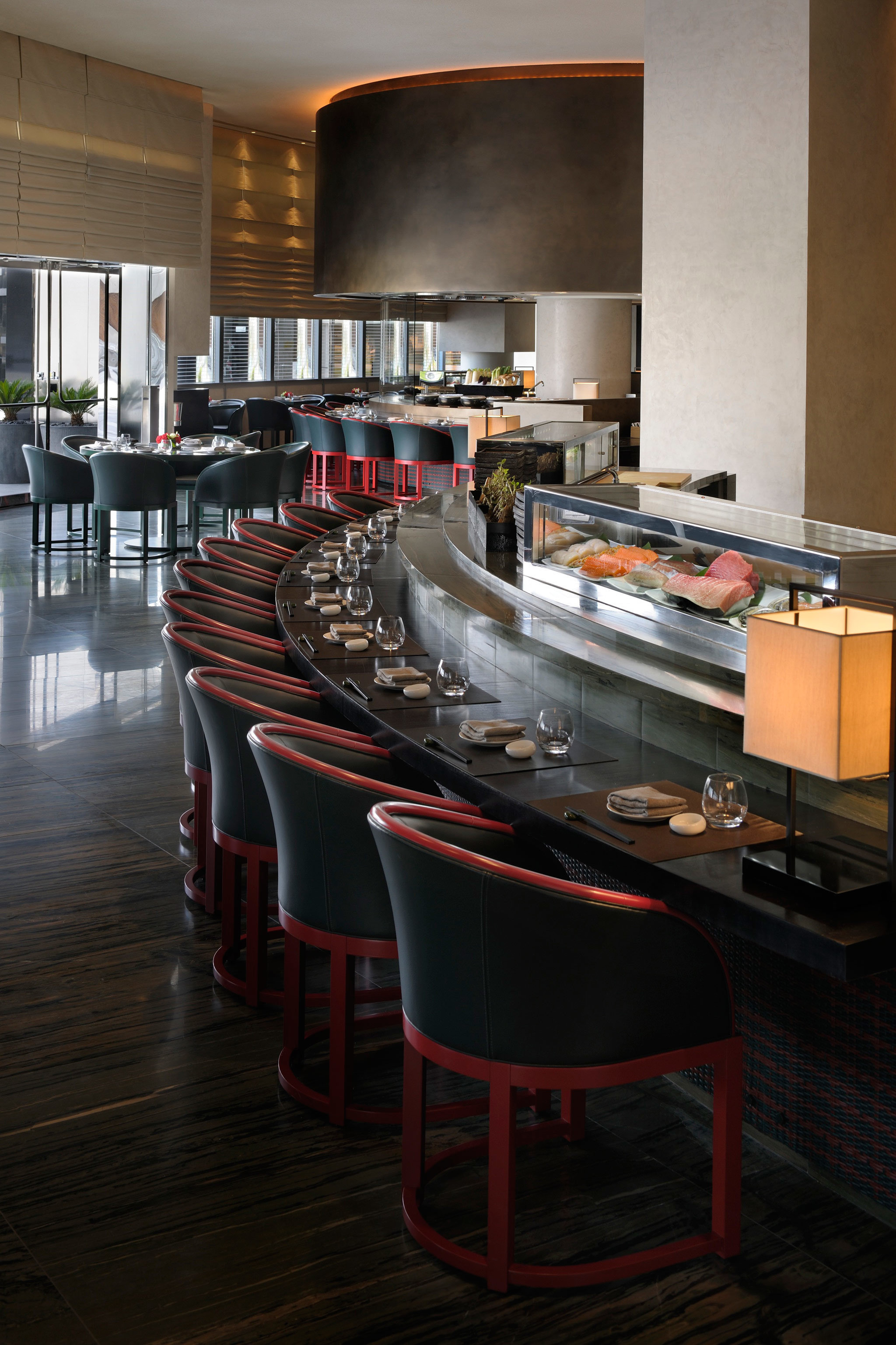 Bar City Dining Drink Dubai Eat Hotels Luxury Travel Middle East Modern indoor wall floor table room restaurant ceiling interior design Kitchen Design cuisine furniture several