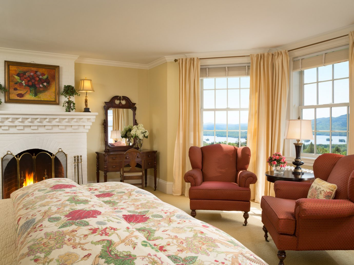 Hotels Lakes + Rivers Romance indoor window room wall floor property living room ceiling bed Living home estate interior design real estate Suite Bedroom hardwood cottage apartment decorated furniture area