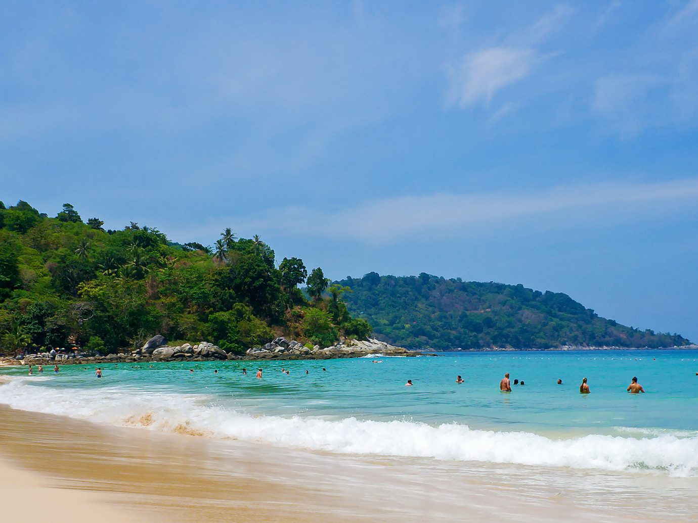 Kata Noi Beach, Phuket, Trip Ideas water sky outdoor Beach Nature body of water shore Sea Ocean Coast people vacation caribbean bay wind wave tropics wave Island cape cove swimming day sandy