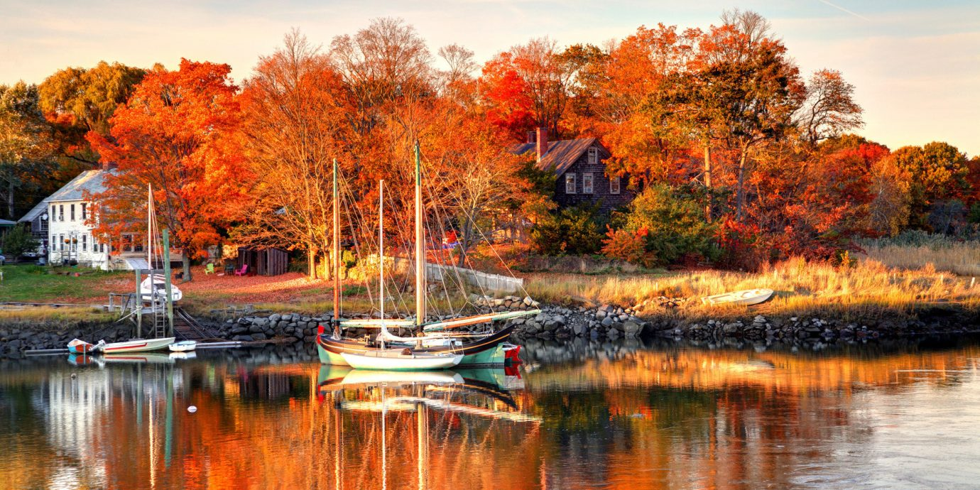 Offbeat Trip Ideas outdoor tree water sky Boat reflection Nature Lake autumn season leaf house morning woody plant River evening landscape pond flower dusk orange surrounded several