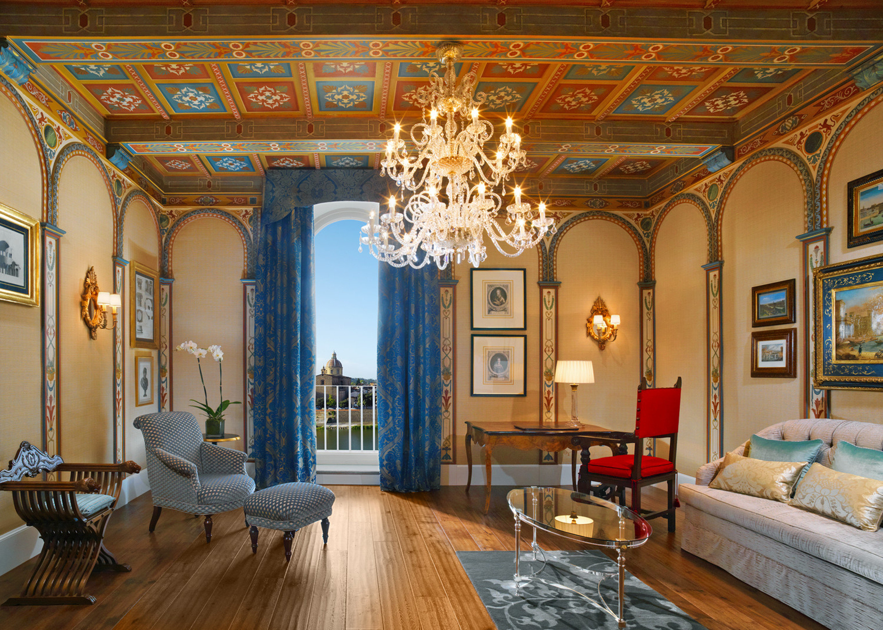 Elegant Florence Historic Hotels Italy Living Luxury Suite Trip Ideas indoor wall room floor property estate living room ceiling home interior design mansion Lobby real estate palace decorated furniture several