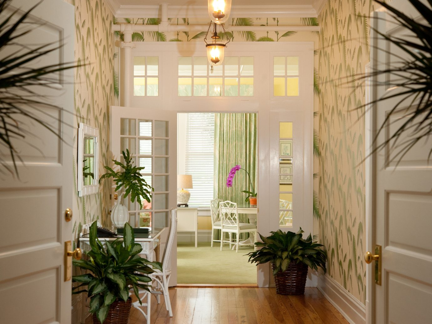 french doors hallway Lounge Trip Ideas plant indoor room home window palm living room house estate interior design hall lighting Lobby Design condominium apartment decorated furniture