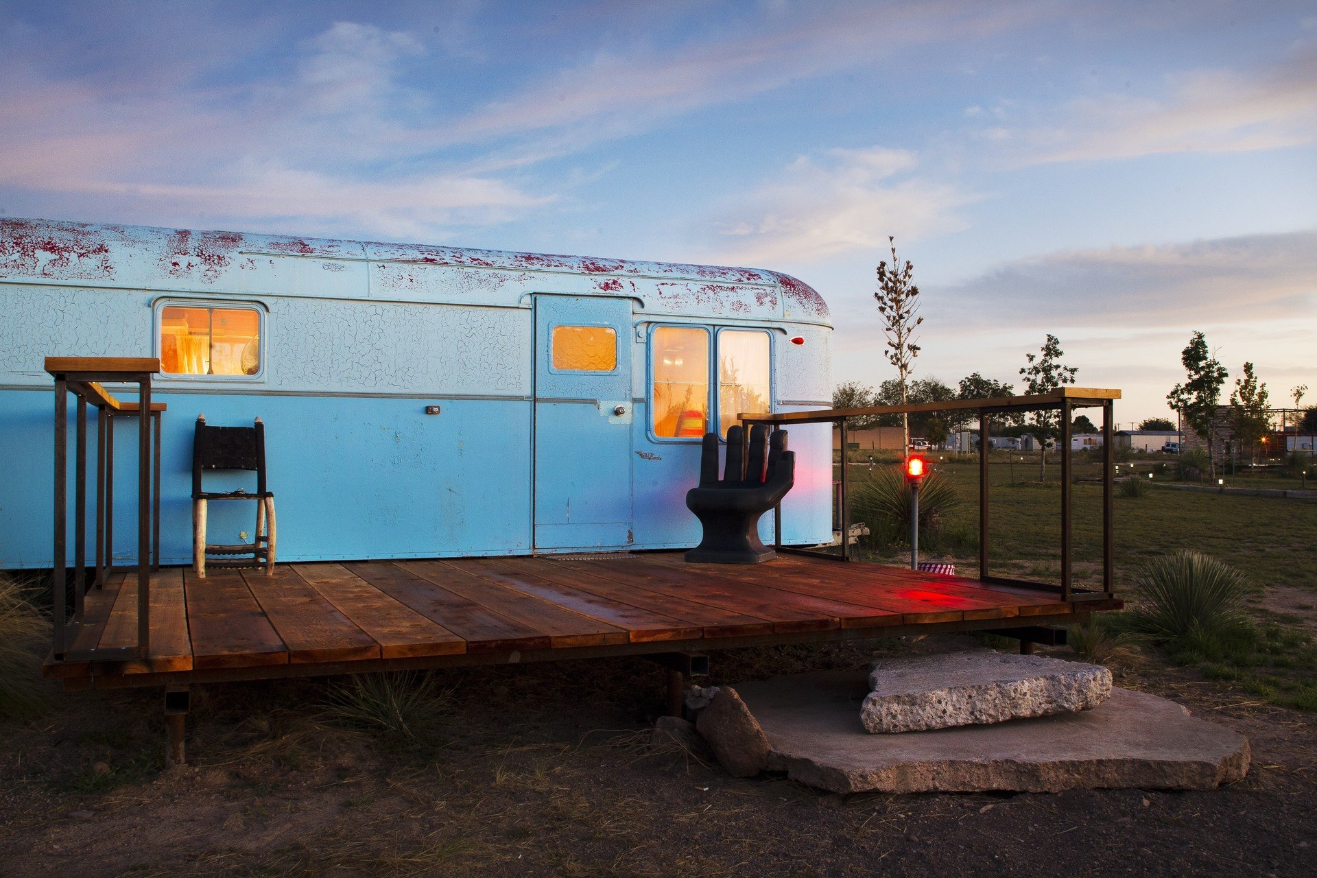airstream ambient lighting artistic artsy calm dawn dusk Exterior Glamping Hip isolation Luxury Travel quirky remote serene trendy Trip Ideas sky outdoor urban area vehicle