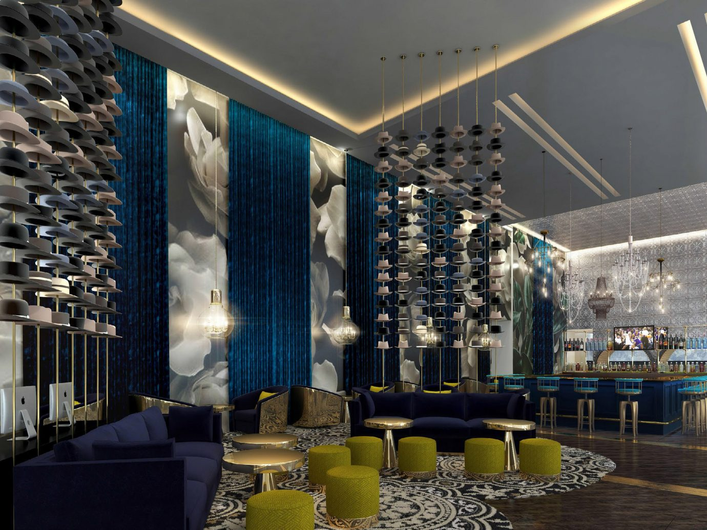 Hotels indoor ceiling Lobby room interior design convention center function hall restaurant Boutique Design retail meal furniture