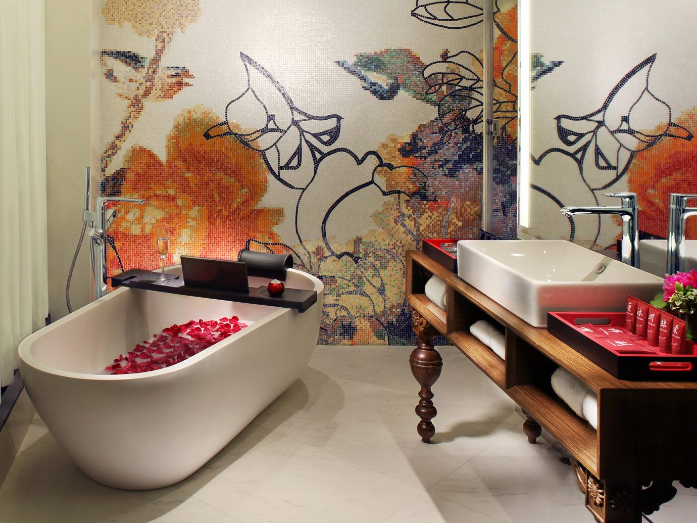 Hotels indoor wall room red floor interior design flooring Design bathroom decorated furniture