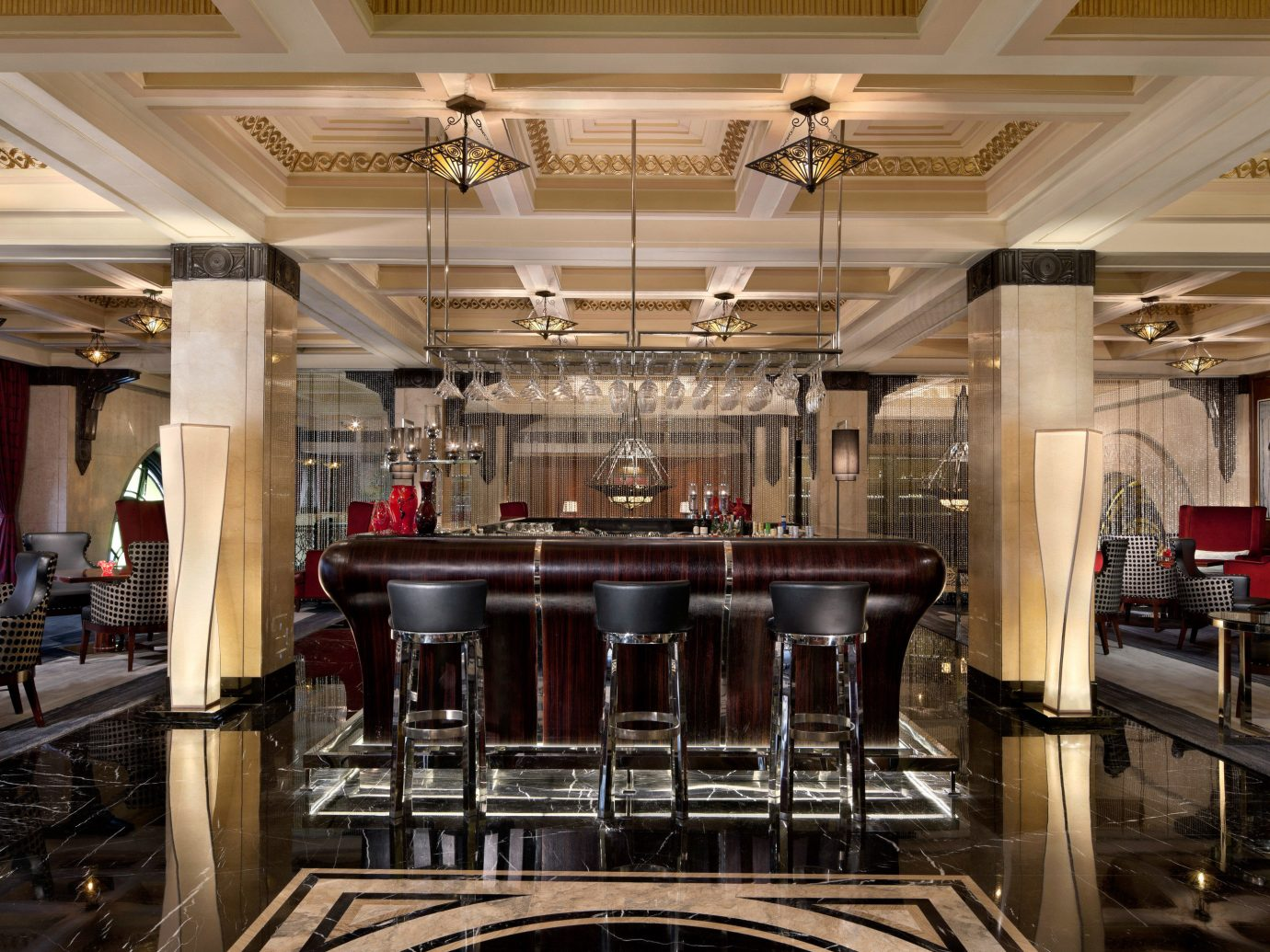 Bar Dining Drink Eat Elegant Hotels Luxury indoor ceiling table Kitchen Lobby function hall meal restaurant interior design ballroom convention center auditorium area steel several dining room