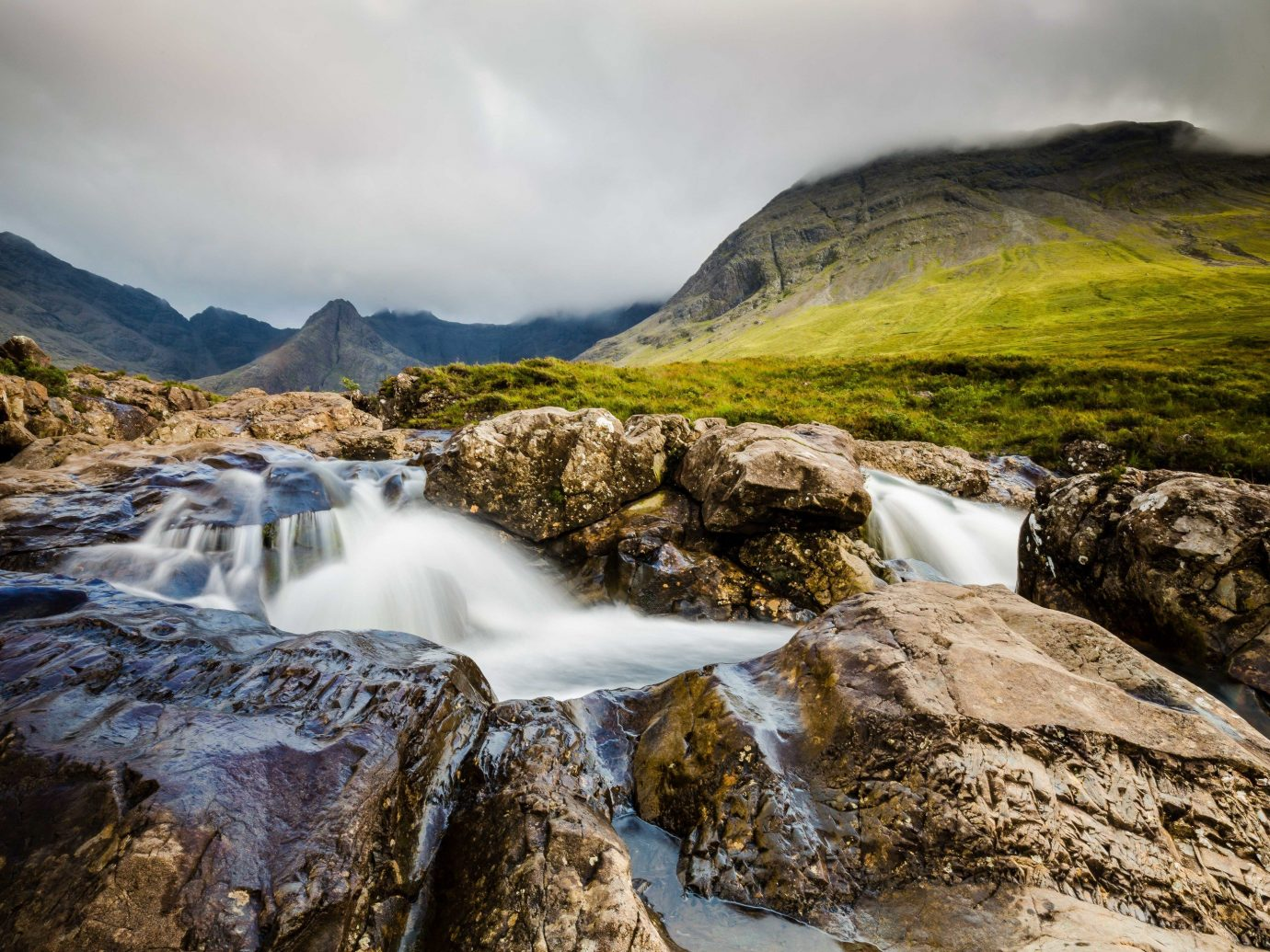 Trip Ideas Nature rock outdoor mountain sky Waterfall water mountainous landforms rocky wilderness highland stream water feature watercourse landscape River fell hill loch lake district rapid tree cloud hillside