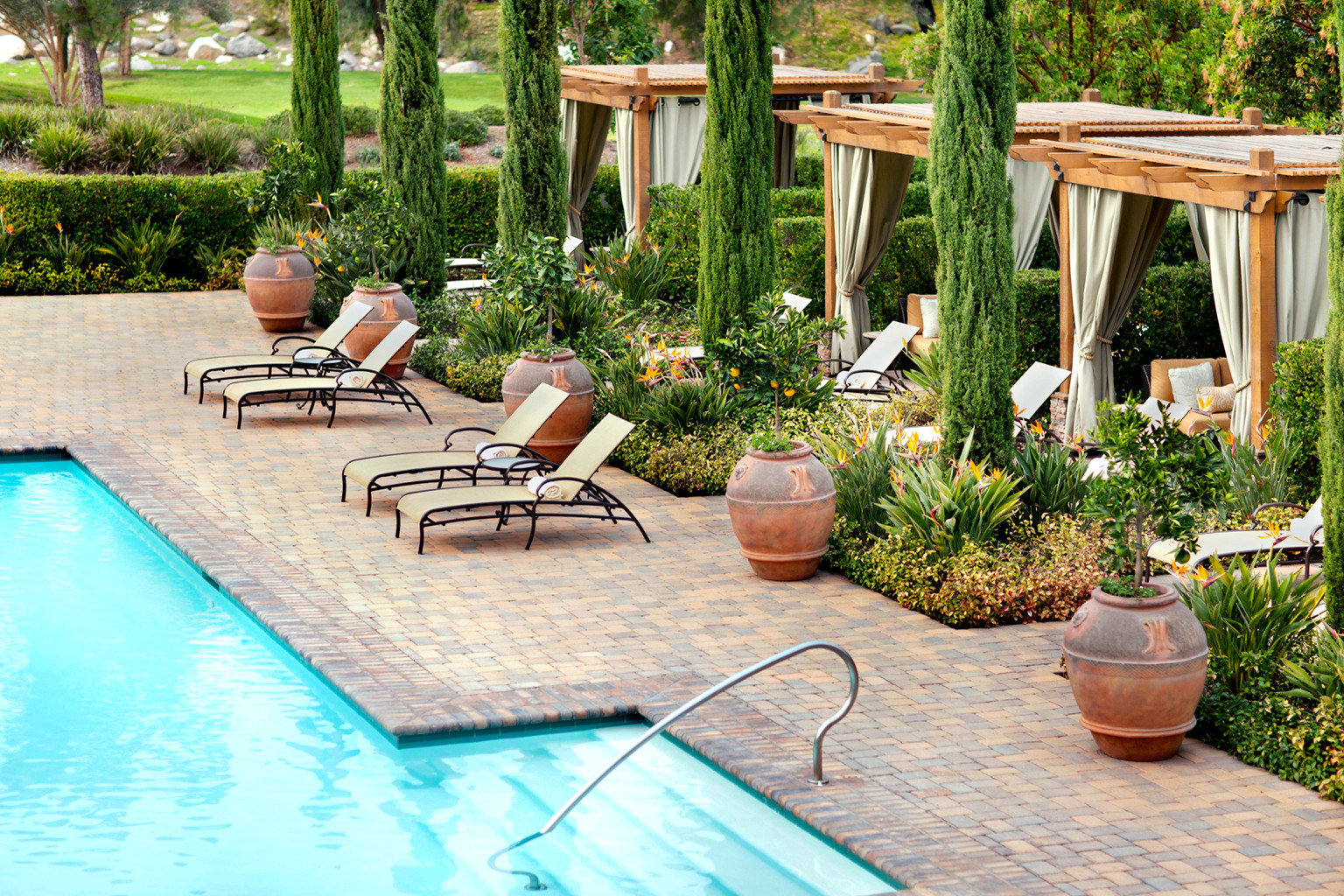 Beauty Garden Hotels Inn Lounge Patio Pool Resort Terrace Trip Ideas tree outdoor table swimming pool property backyard yard Courtyard outdoor structure estate landscape architect real estate lawn Villa landscaping cottage Deck
