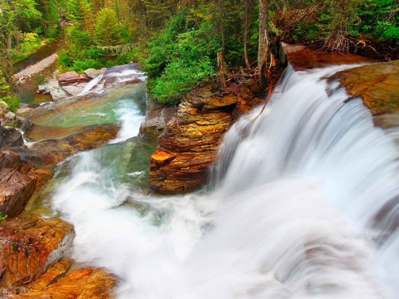 Trip Ideas Nature Waterfall water tree outdoor stream creek body of water watercourse River rapid rock water feature leaf season autumn Forest wasserfall wood surrounded