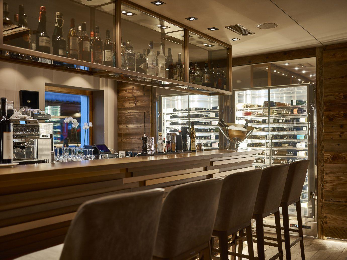 Boutique Hotels Hotels Outdoors + Adventure Winter indoor ceiling floor chair window interior design Bar restaurant café
