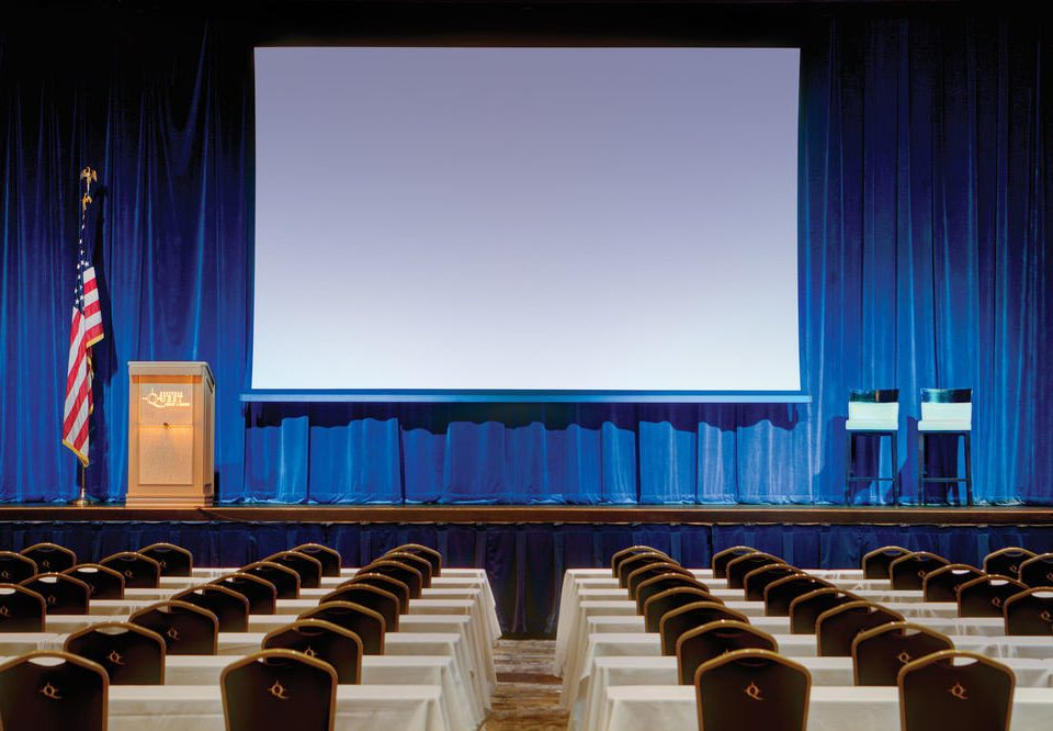 auditorium stage convention academic conference function hall meeting conference hall theatre colored conference room