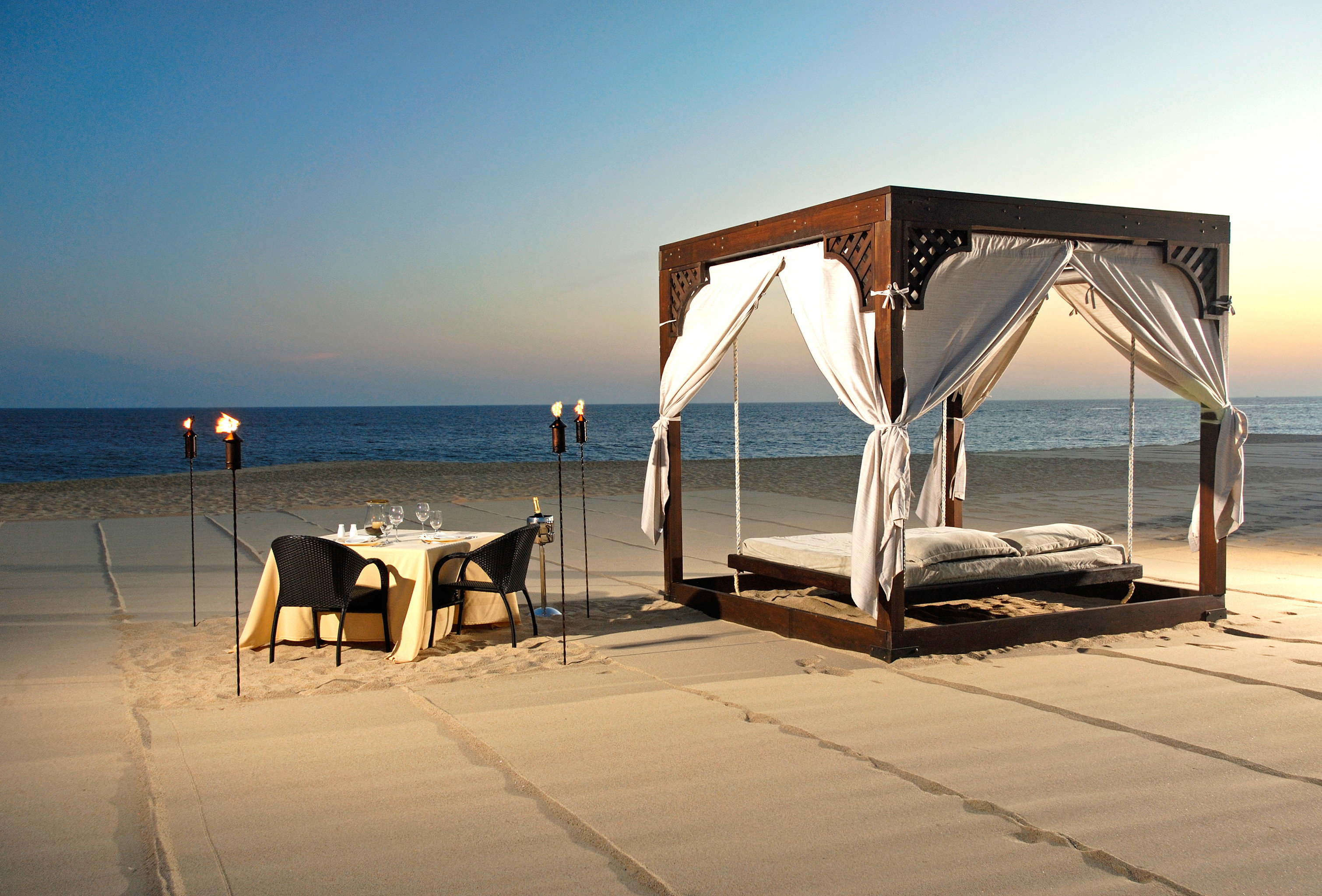 Adult-only All-inclusive Beach Dining Drink Eat Honeymoon Romance Romantic Tropical Waterfront sky Ocean Sea Architecture Coast walkway pier dock shore sandy day