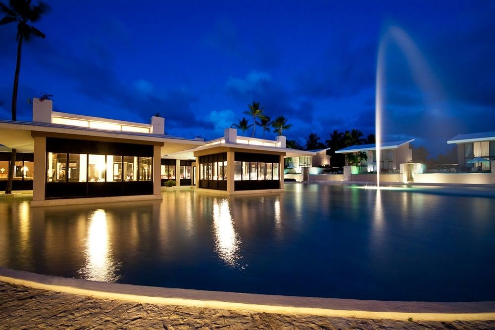 Adult-only All-inclusive Beach Beachfront Lounge Ocean Pool sky scene pier night landmark light swimming pool Resort evening lighting dusk