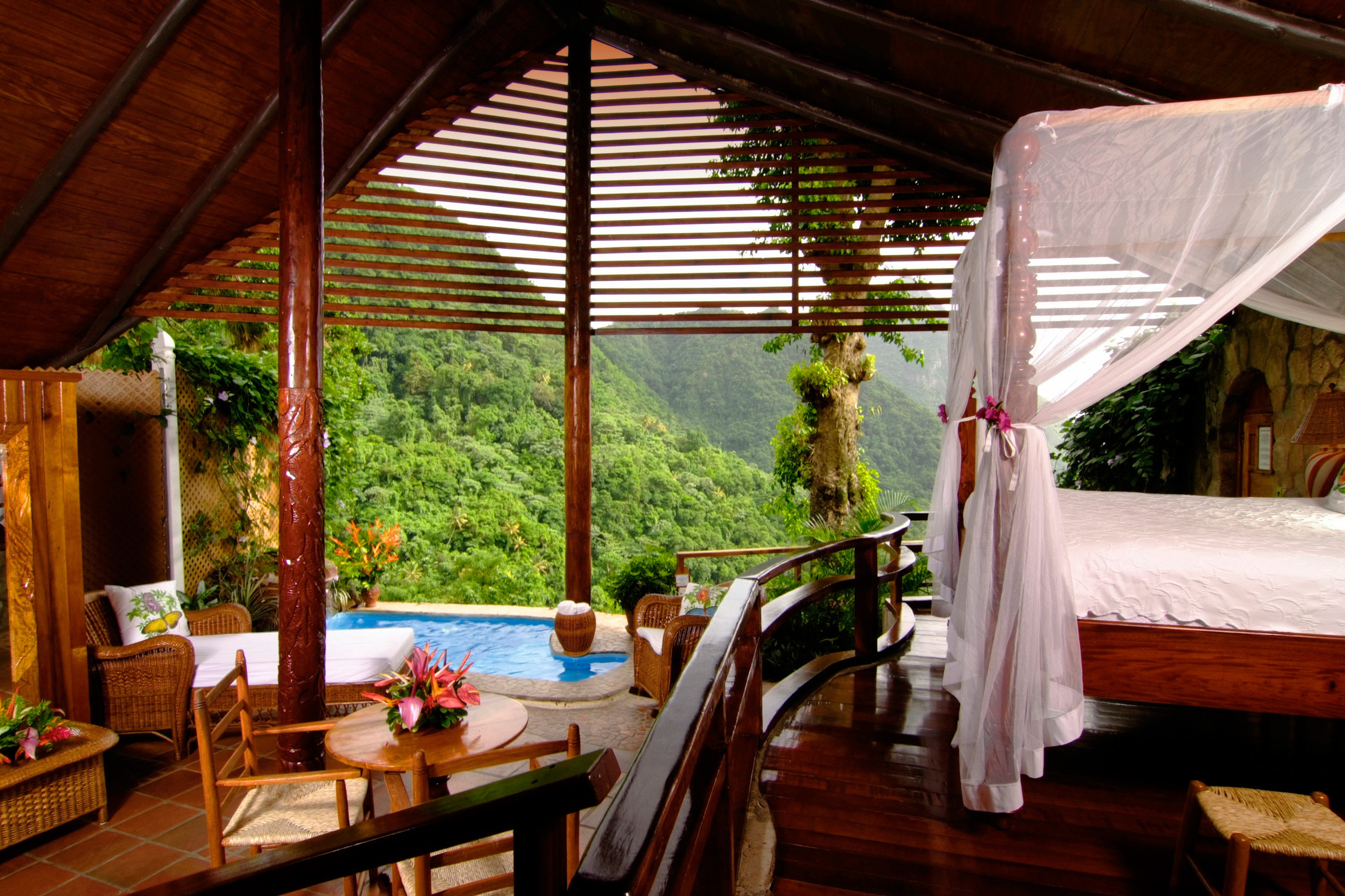 Adult-only Bedroom Honeymoon Luxury Resort Romance Scenic views chair wooden cottage Villa restaurant backyard porch