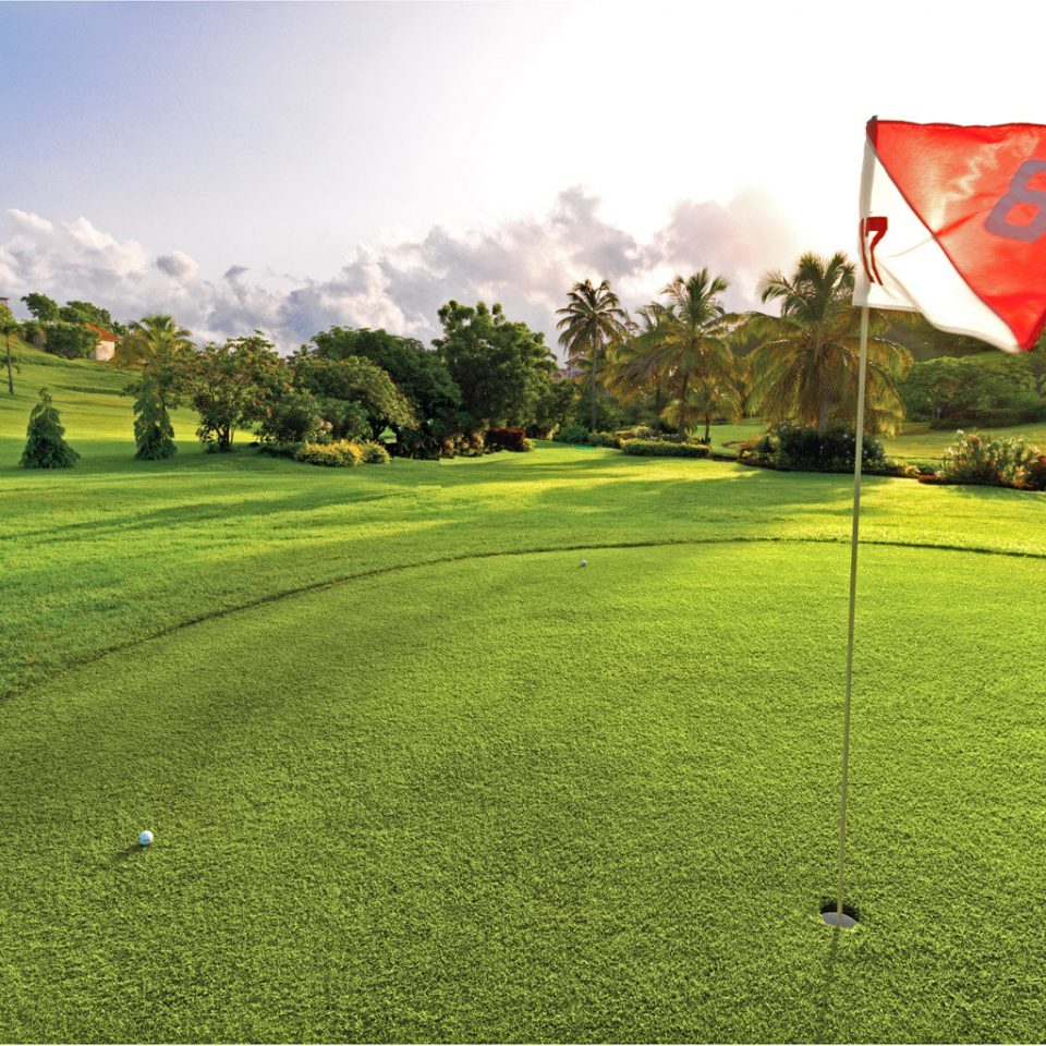 Adult-only Golf Island Scenic views Sport Wellness grass sky structure field green pitch and putt sports sport venue grassland golf course ball game golf club lawn outdoor recreation baseball field recreation meadow lush