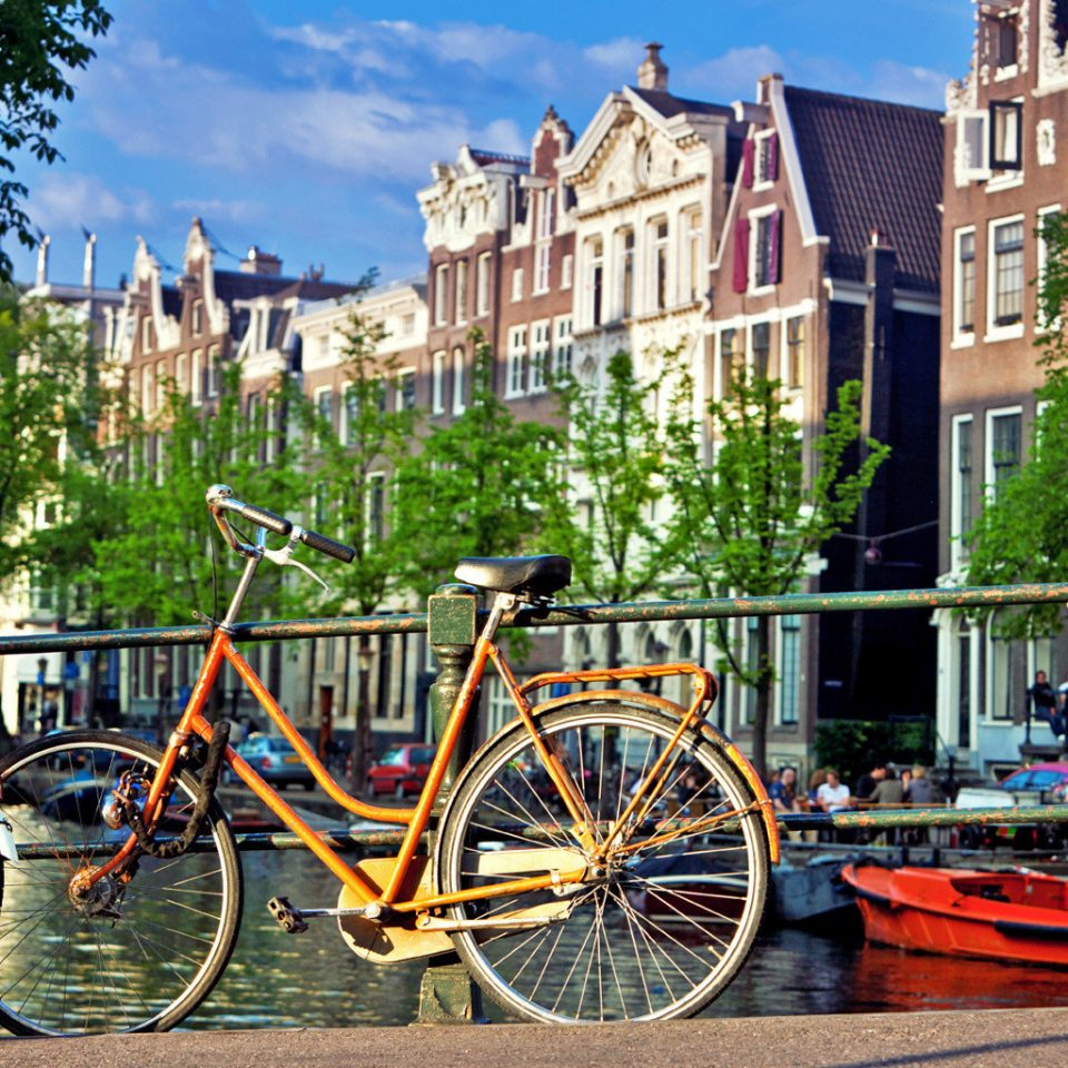 Adventure Architecture Buildings Cultural Exterior Romantic Waterfront bicycle tree parked vehicle City Town yellow neighbourhood residential area street waterway cityscape pulling Playground sports equipment cycling cart
