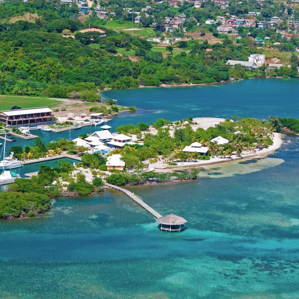 Adventure Eco Grounds Island Outdoor Activities Outdoors Waterfront water Sea archipelago Coast Nature caribbean reef Beach Lagoon swimming pool islet Resort inlet cove cape marina aerial photography