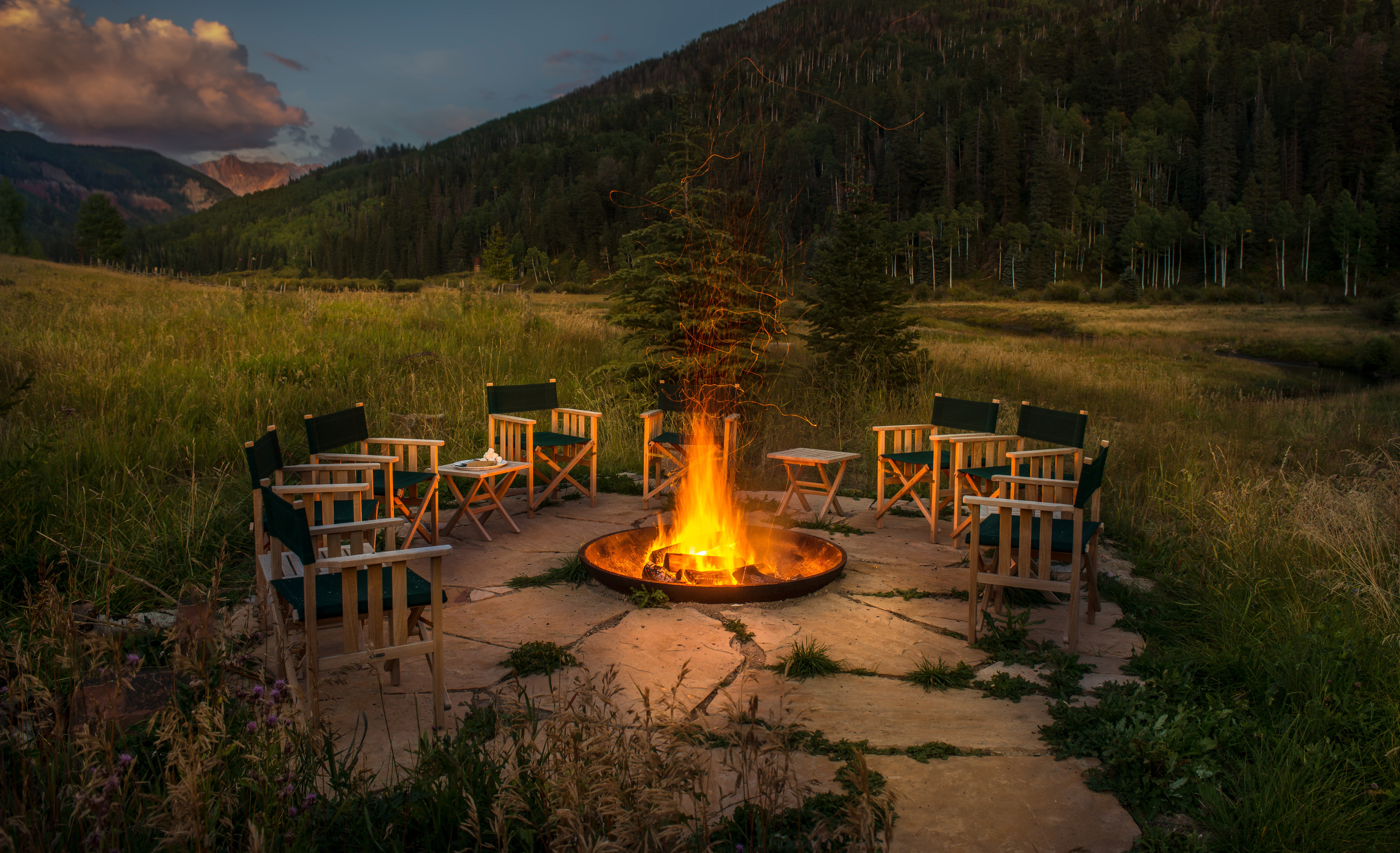 Adventure Country Forest Glamping Grounds Mountains Outdoors + Adventure Rustic Weekend Getaways Wellness grass sky mountain wilderness yellow morning Nature evening park campfire fire autumn surrounded