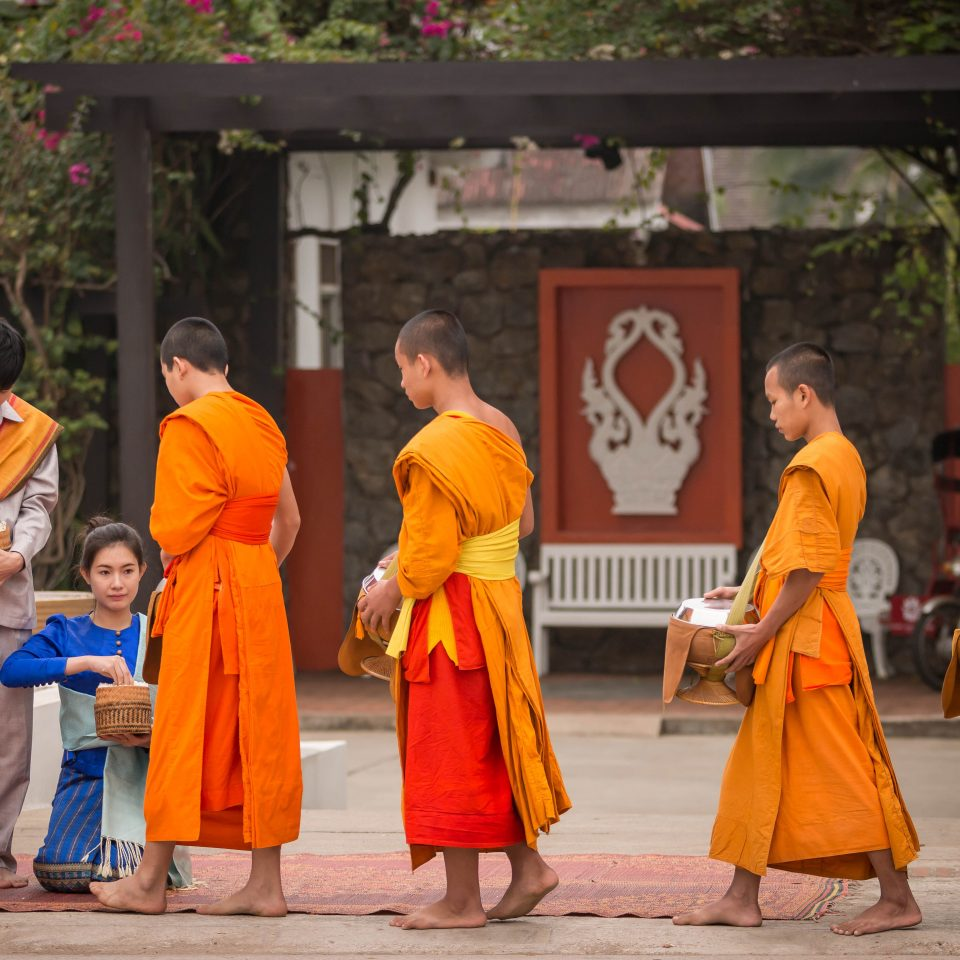 Adventure Cultural Outdoors tree Sport orange ground monk dancer group temple tradition religion