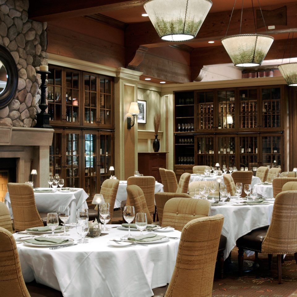 Adventure Dining Drink Eat Mountains + Skiing Rustic Trip Ideas restaurant function hall Resort Fireplace