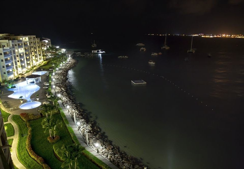 night light aerial photography cityscape waterway