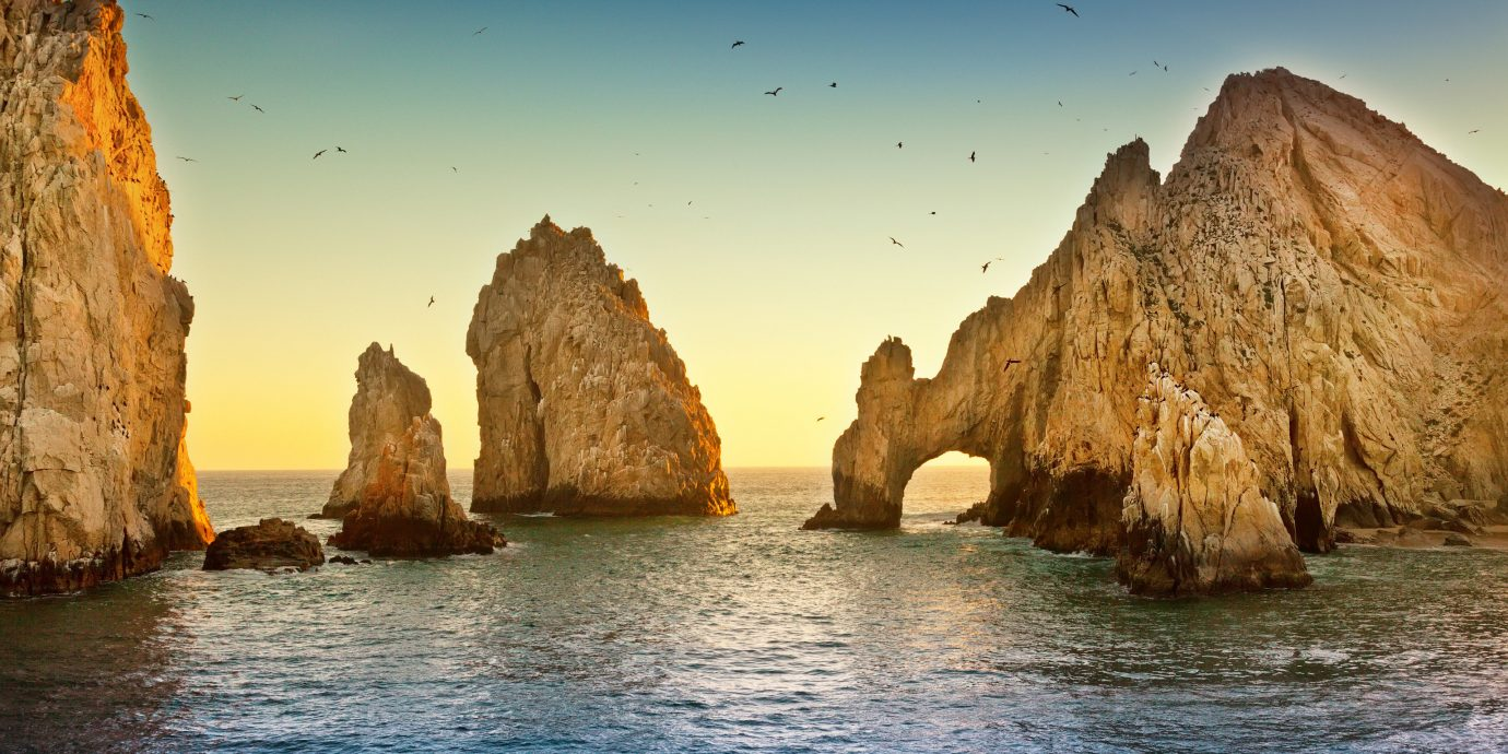 Rock formations in the ocean in Los Cabos Mexico