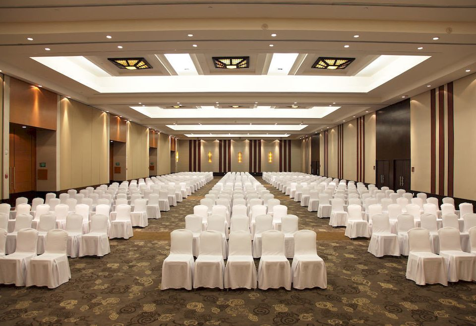 auditorium function hall long conference hall banquet ballroom convention center counter aisle lined line