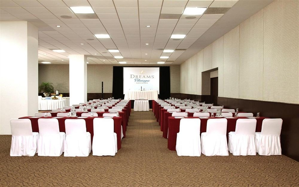function hall auditorium conference hall banquet white long convention center ballroom event row aisle lined line conference room