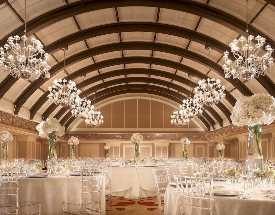 aisle function hall wedding wedding reception ceremony banquet ballroom centrepiece floristry chandelier flower fancy round hall