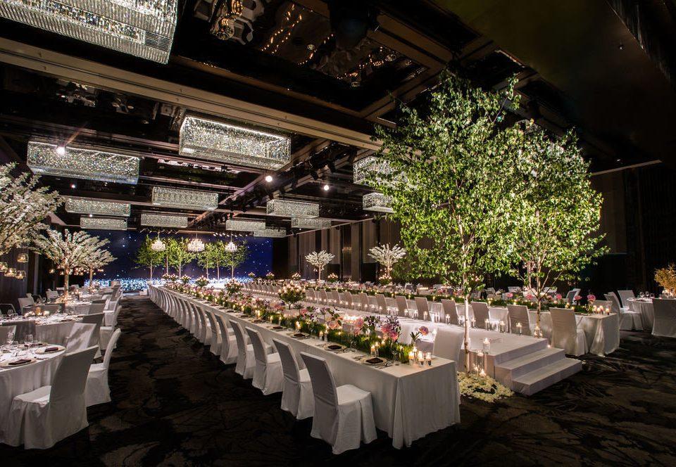 aisle function hall wedding ceremony wedding reception banquet ballroom flower long lined line