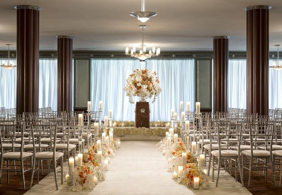 aisle function hall ceremony wedding ballroom wedding reception row banquet lined