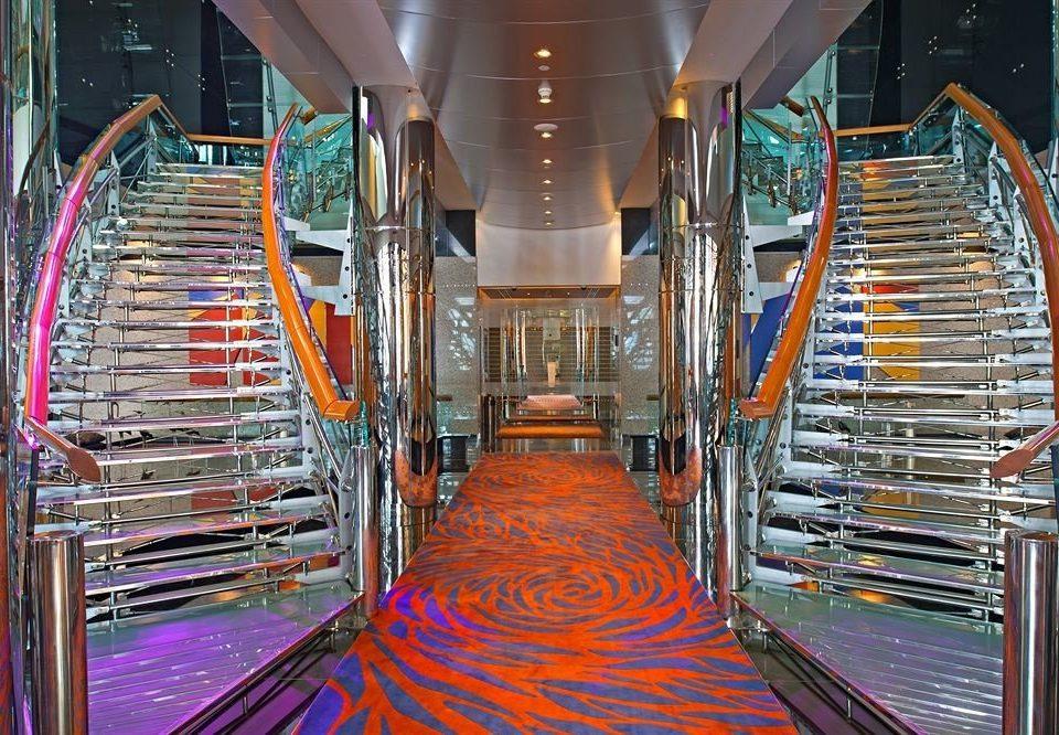 chair building aisle escalator orange stair