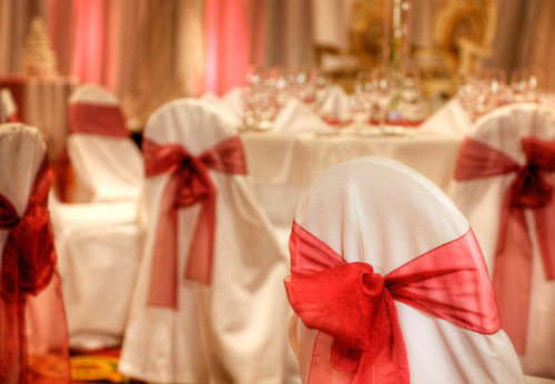red curtain wedding ceremony cloth flower aisle