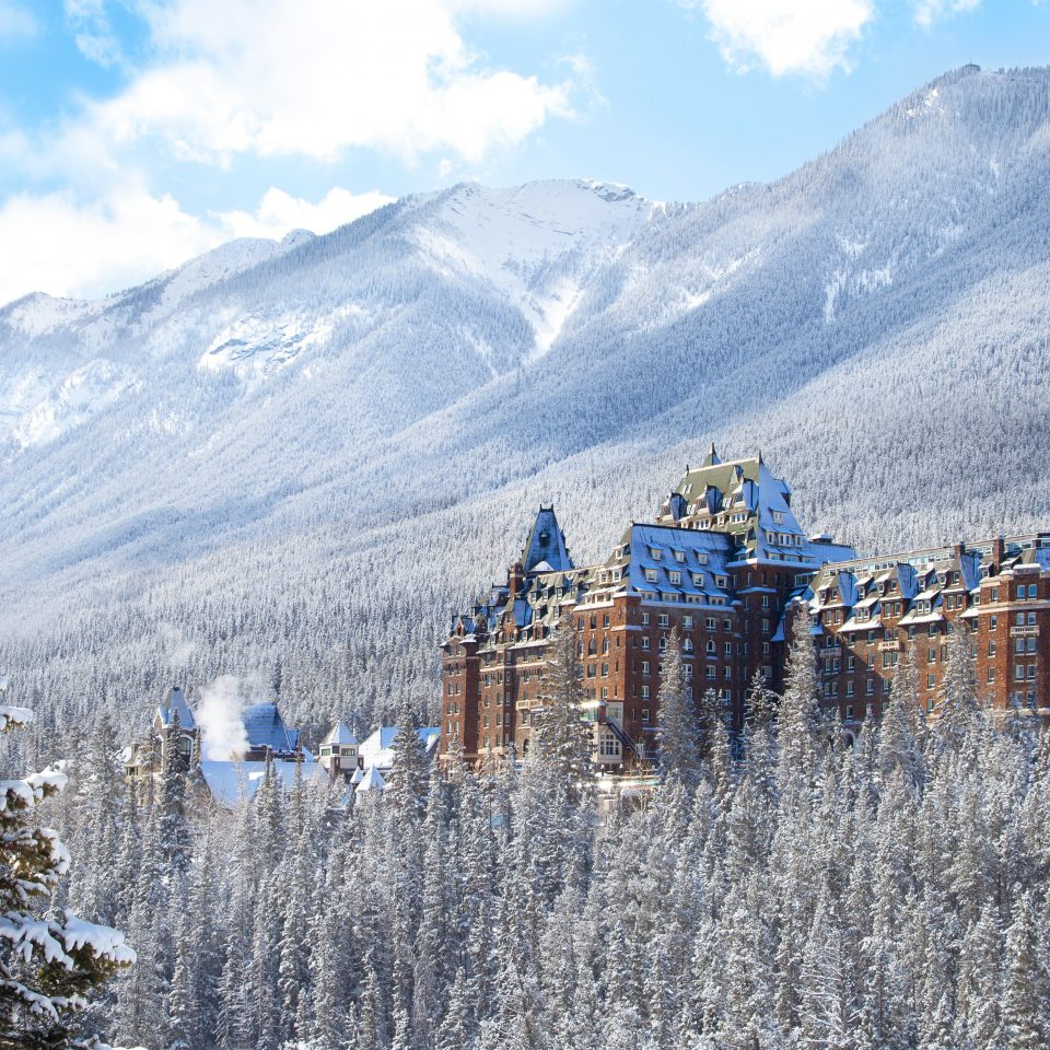 Alberta Architecture Boutique Hotels Buildings Canada Exterior Hotels Mountains Outdoors Resort Scenic views Trip Ideas mountain sky mountainous landforms snow Winter Nature mountain range wilderness weather season alps frost ridge highland